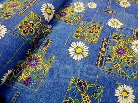 Metráž 150cm Džínové léto - bavlna se vzorem