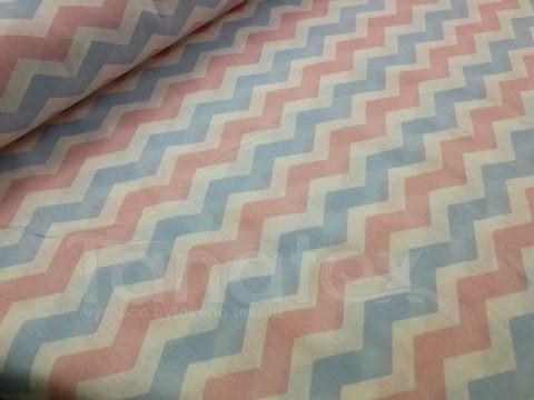 Metráž 150cm Růžový a modrý cik cak - bavlna se vzorem