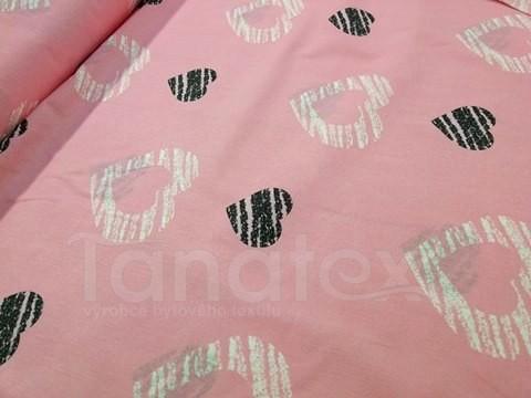 Metráž 150cm Srdce na růžové - bavlna se vzorem