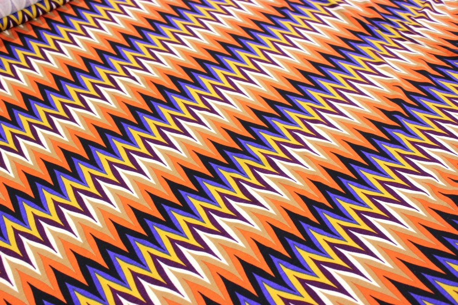 Úplet - Cik cak oranžový - metráž úplet