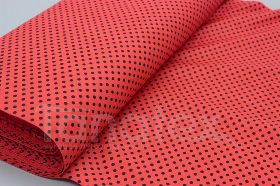metráž Puntíček černý v červené - 150cm