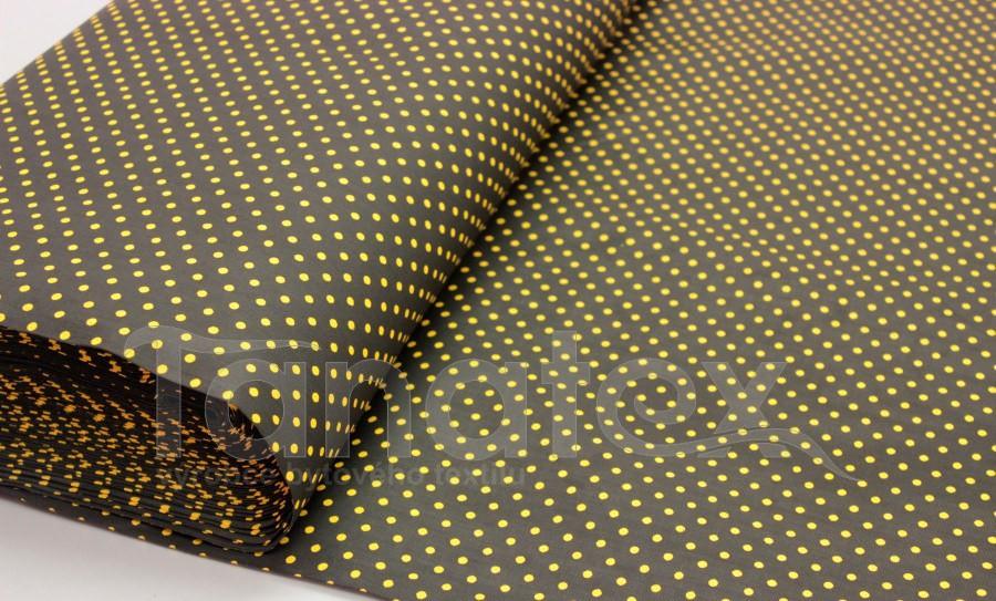 metráž Puntíček žlutý v černé - 150cm