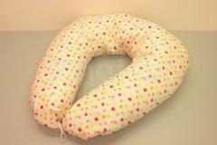 Kojící polštář velký Barevné puntíky (růžové) Kojící polštáře - Kojící polštář velký