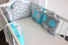 5dílný mantinel z polštářků - Domky - tyrkysové - sladké sny v šedé Mantinely do postýlky - Polštářkový mantinel - Polštářkový mantinel exclusive