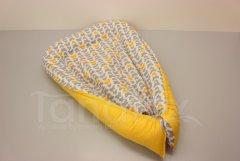 Hnízdečko Motýlci žlutí a šedí - žlutá Hnízdečko pro miminko - Hnízdečka do postýlky z bavlny