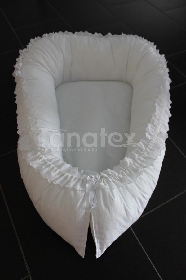 Hnízdečko exclusive - bílé s krajkou - Hnízdečka do postýlky z bavlny
