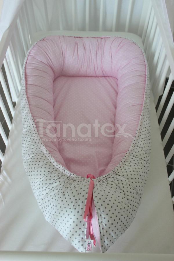 Hnízdečko Růžový puntíček - šedý puntíček - Hnízdečka do postýlky z bavlny