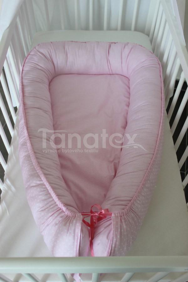 Hnízdečko Růžový puntíček - růžový proužek - Hnízdečka do postýlky z bavlny