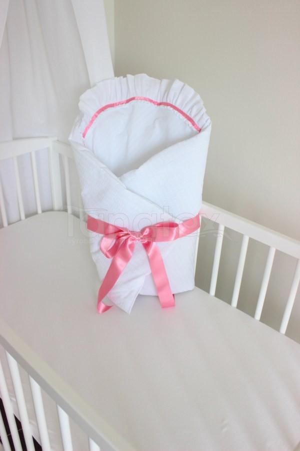 Zavinovačka exclusive - Bílý krep s růžovou stuhou a krajkou