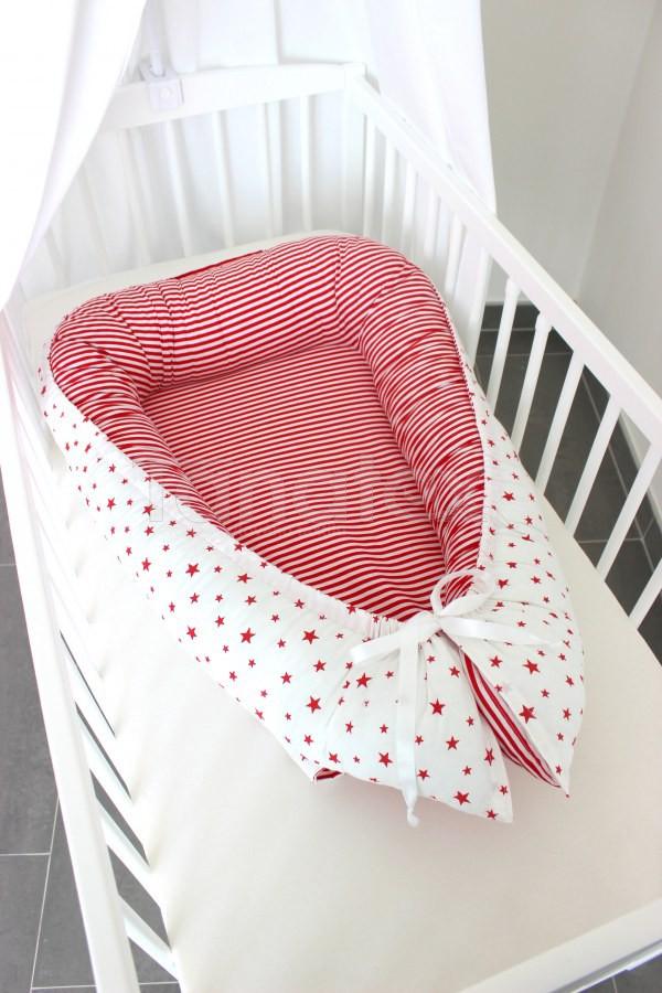 Hnízdečko Červené hvězdičky - červený proužek - Hnízdečka do postýlky z bavlny