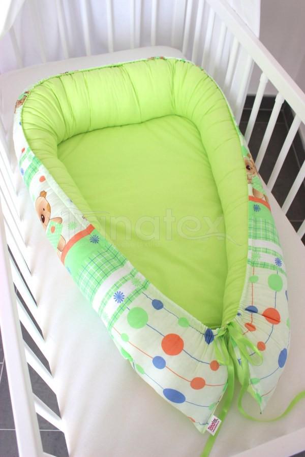 Hnízdečko Zelení medvídci - uni zelená - Hnízdečka do postýlky z bavlny