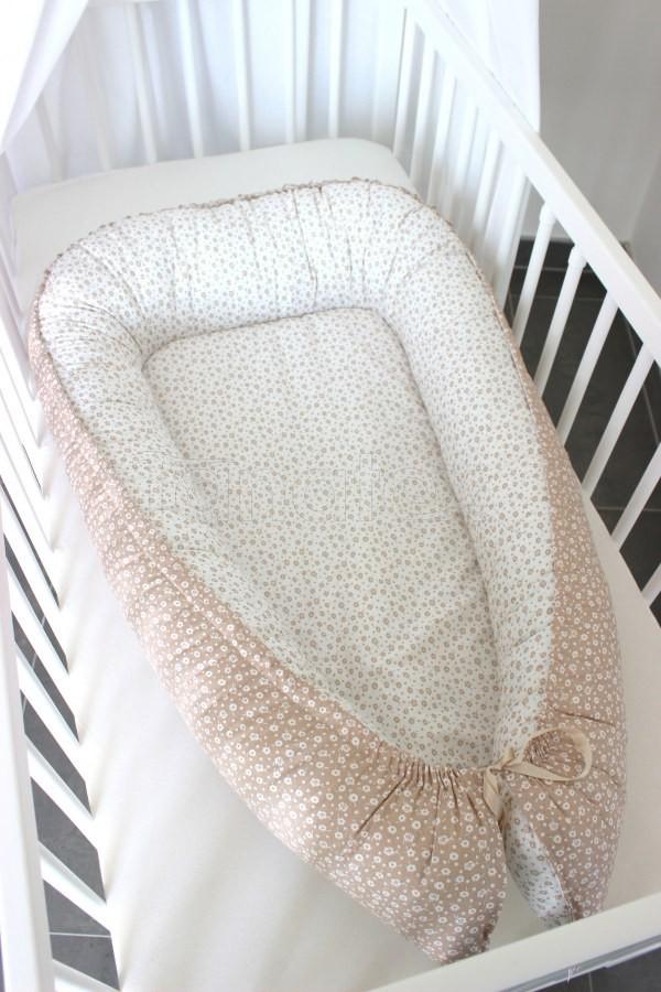 Hnízdečko Béžová perokresba v kombinaci - Hnízdečka do postýlky z bavlny