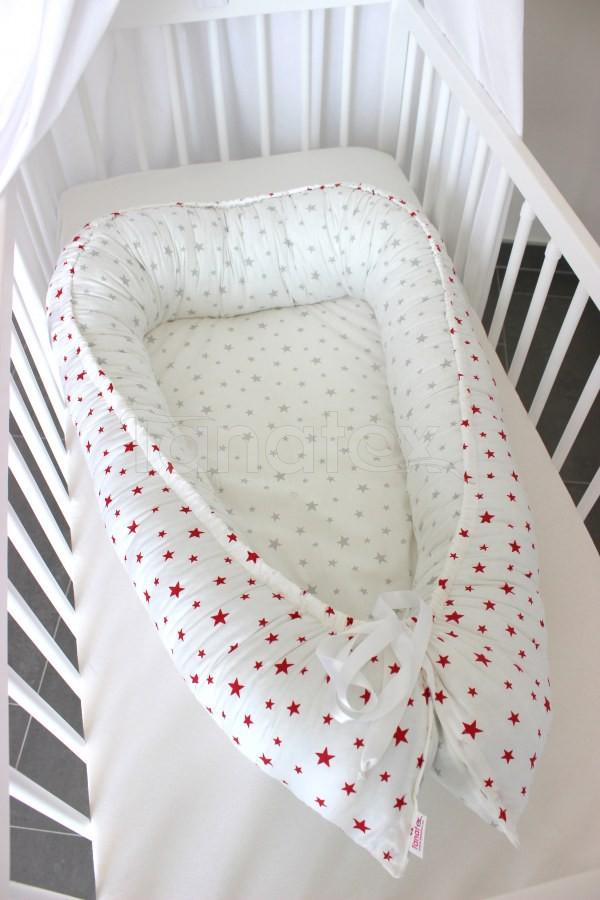 Hnízdečko Červené hvězdičky - šedé hvězdičky - Hnízdečka do postýlky z bavlny