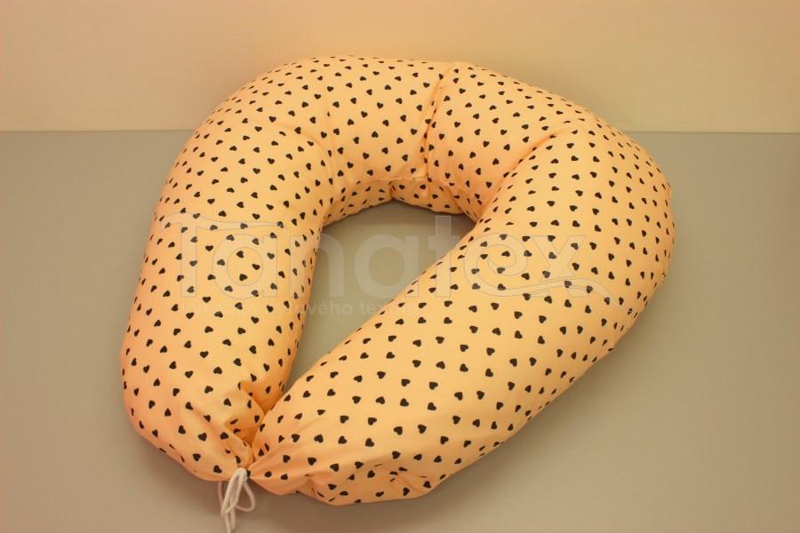 Kojící polštář velký Mini srdíčka meruňková - Kojící polštář velký