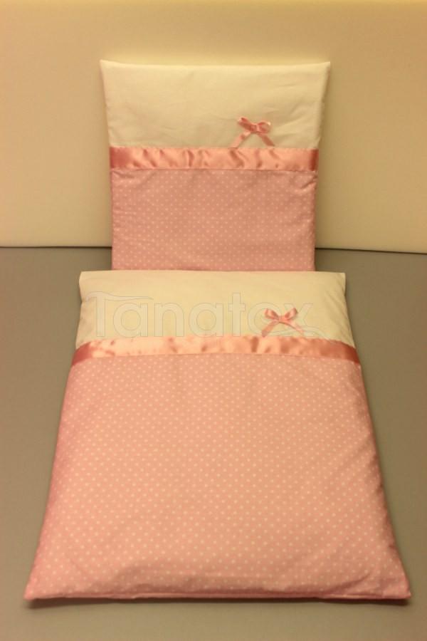 Plymo exclusive - 4dílná sada - Růžový puntíček - uni bílá - Plymo do kočárku