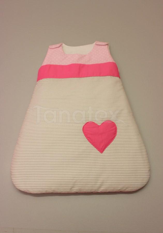 Spací pytel malý z bavlny - růžové puntíky - šedé proužky
