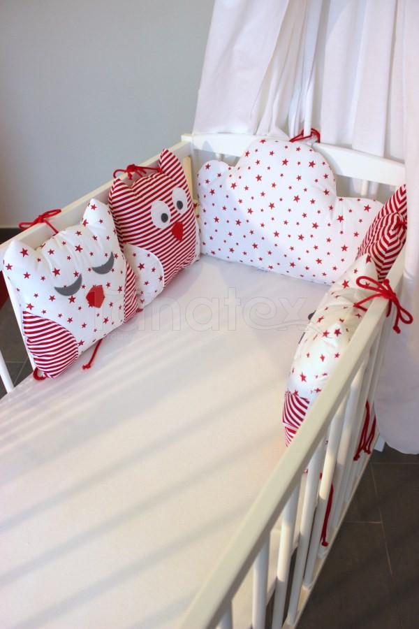5dílný mantinel z polštářků - Sovy červený proužek - červené hvězdičky na bílé - Polštářkový mantinel exclusive