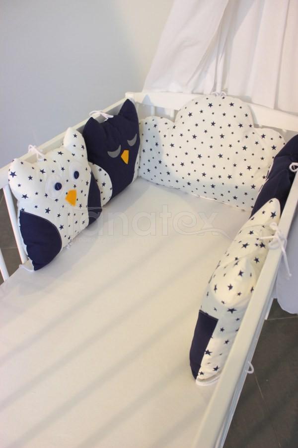 5dílný mantinel z polštářků - Sovy uni tmavě modré - tmavě modré hvězdičky na bílé - Polštářkový mantinel exclusive