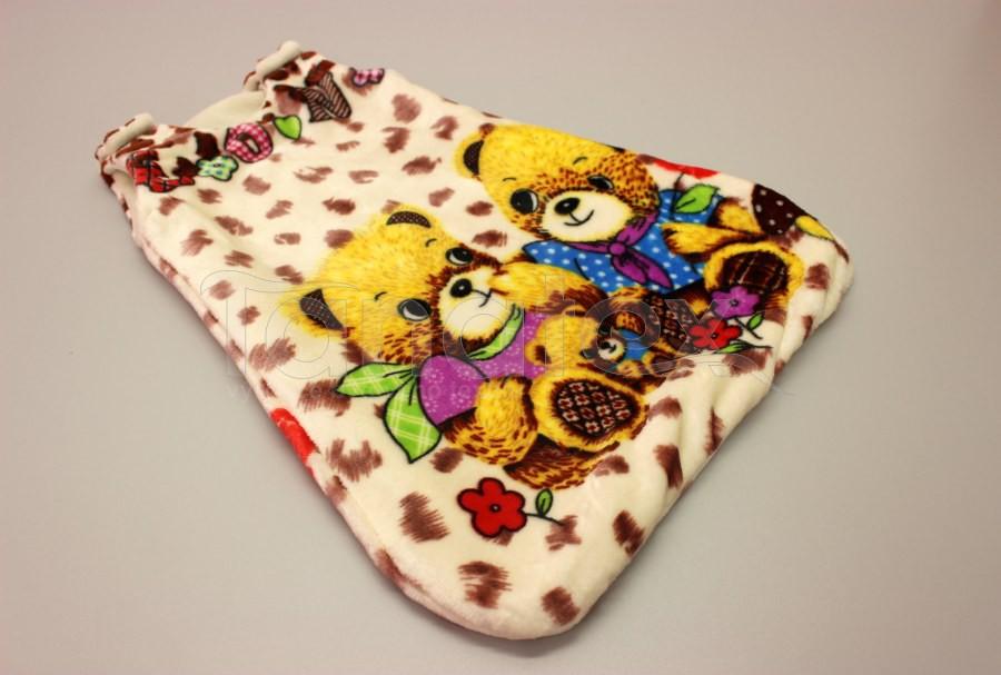 Spací pytel malý z mikroplyše - Medvědi s hnědou - Spací pytel pro miminko