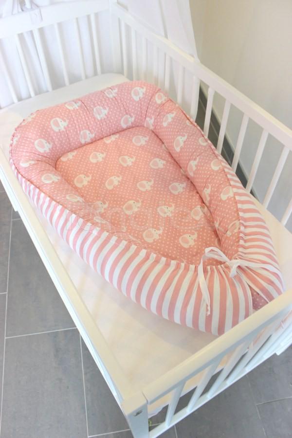 Hnízdečko Slůňátka v růžové - růžový pruh - Hnízdečka do postýlky z bavlny