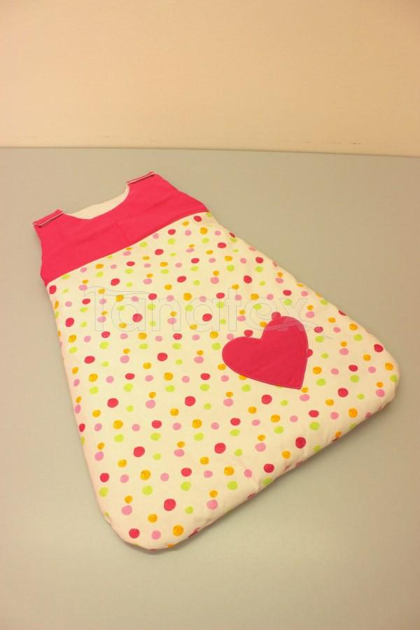 Spací pytel malý z bavlny - barevné puntíky s uni růžovou - Spací pytel pro miminko