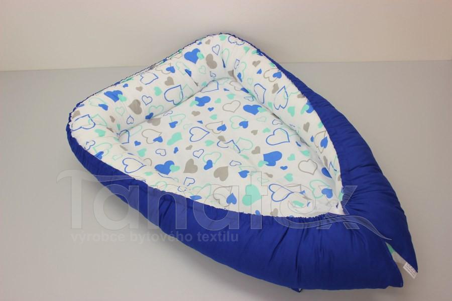 Hnízdečko Mini srdíčka modrá a mentolová - royal modrá - Hnízdečka do postýlky z bavlny