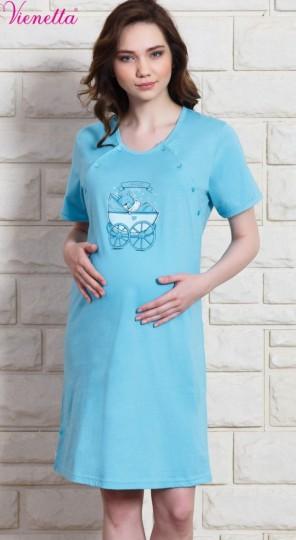 Dámská noční košile mateřská Kočárek - Kojící noční košile s krátkým rukávem