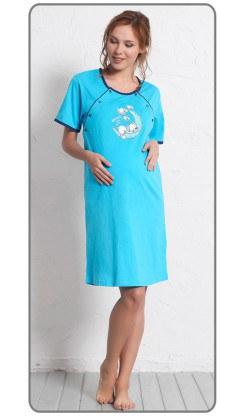 Dámská noční košile mateřská s krátkým rukávem Štěně na měsíci - Ženy | Dámské noční košile | Kojící noční košile | Kojící noční košile s krátkým rukávem