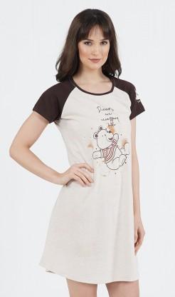 Dámská noční košile s krátkým rukávem Méďa - krátký rukáv
