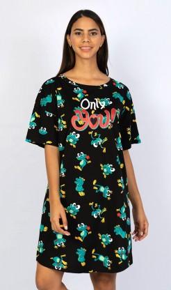 Dámská noční košile s krátkým rukávem Žába
