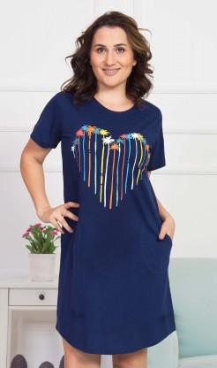 Dámské domácí šaty s krátkým rukávem Pláž - Nadměrné dámské noční košile
